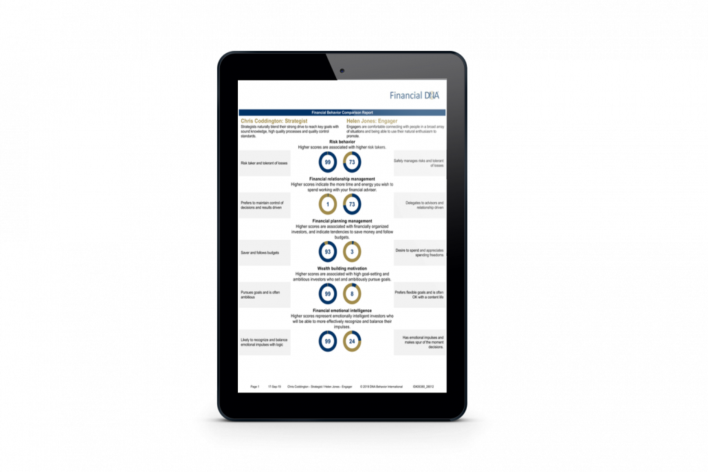 Financial DNA Comparison Report Displayed in an iPad